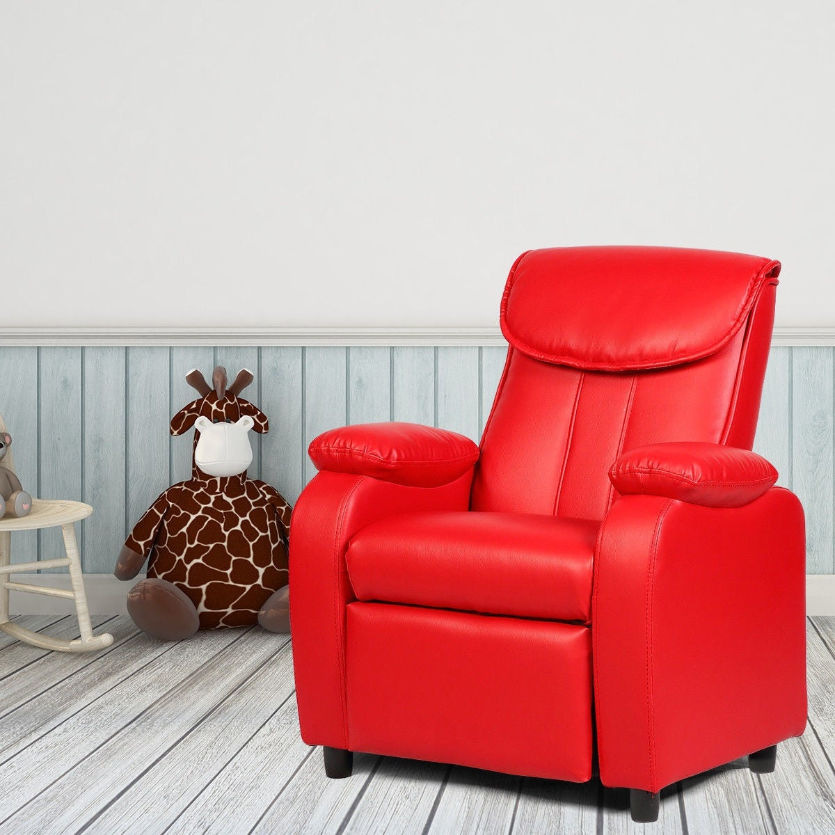 Costway Kid Recliner Sofa Armrest Chair Couch Children Living Room  Furniture Home Red