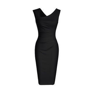 Link to Haute Edition Women's Retro Ruched Sleeveless Bodycon Pencil Dress Similar Items in Dresses