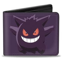 Gengar Pose1 + Pose2 Corner Purples Bi Fold Wallet - One Size Fits most