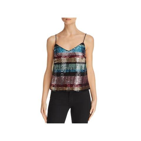 WAYF Womens Murphy Camisole Top Sequined Rainbow Stripe