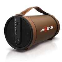 Axess Portable Bluetooth Indoor/Outdoor 2.1 Hi-Fi Cylinder Loud Speaker with SD Card, AUX and FM Inputs, 4