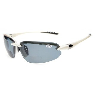 Eyekepper TR90 Unbreakable Sports Polycarbonate Polarized Half Rimless Bifocal Sunglasses White+2.5