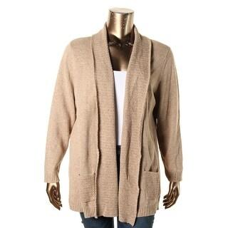 Karen Scott Womens Plus Cardigan Sweater Marled Shawl Collar