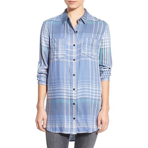 Treasure & Bond Blue Womens Size XS Plaid Button Down Tunic Shirt