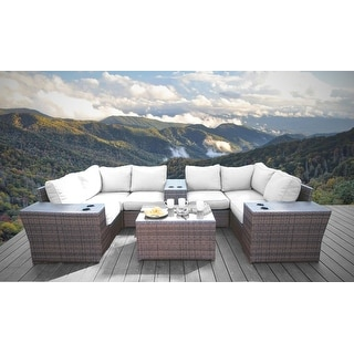 10 Piece Sectional Set with Cushions (Multicolor)