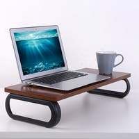 Loctek DS1N Monitor Stand Wooden Computer Riser Laptop Desk Stand, Walnut 23.5×10.2×4.7 inch