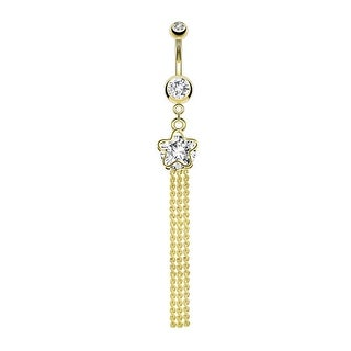 Star and Faceted Gem Dangle 14Kt Gold Plated Navel Belly Button Ring