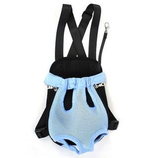 Meshy Zipper Closure Release Buckle Pet Dog Backpack Bag S Black Blue