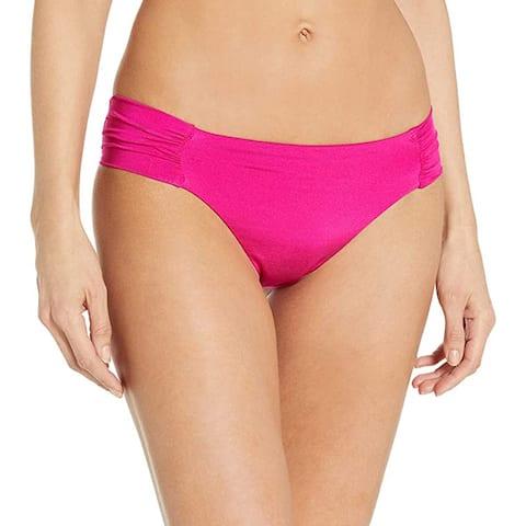 Trina Turk Shirred Side Hipster Pant Bikini Bottom, Berry, 10