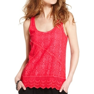 DKNY Jeans Womens Juniors Tank Top Lace Sleeveless