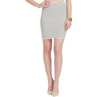 Olivaceous Womens Pencil Skirt Textured Striped
