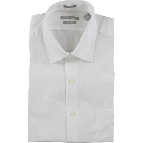 Van Heusen Mens Lux Sateen Button Up Dress Shirt
