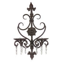 "19"" Elegant French Antique Style Fleur-de-Lis Pillar Candle Wall Sconce"