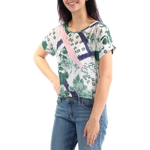 KIIND OF Womens Green Floral Cuffed Jewel Neck Top Size: M