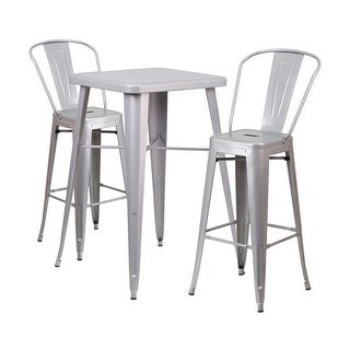 Offex Silver Metal Indoor-Outdoor Bar Table Set With 2 Barstools