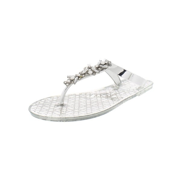 8c5ccf85a Jewel Badgley Mischka Womens Gracia Thong Sandals Jelly Flats - 7 Medium  (B