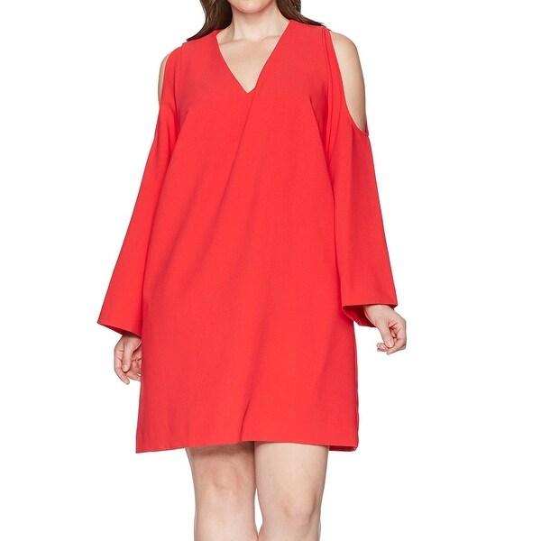 RACHEL RACHEL ROY Red Women's Size 2X Plus V-Neck Shift Dress
