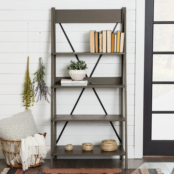 The Gray Barn 68-inch Solid Pine Wood Ladder Bookshelf. Opens flyout.