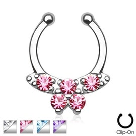 Gemmed Butterfly Non-Piercing Septum Hanger (Sold Individually)