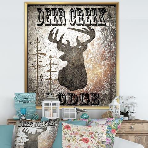 Designart 'Lodge Deer Creek Lodge' Cottage Premium Framed Art Print