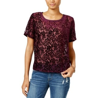 Lucky Brand Womens Casual Top Textured Sheer