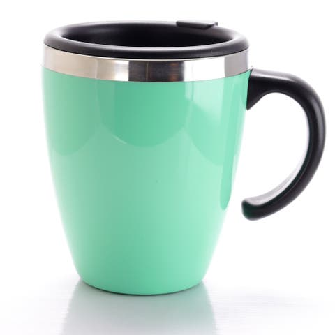 Mr Coffee Neiva 15 oz Stainless Steel Travel Cup with Lid in Turquoise