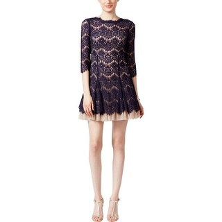 Aqua Womens Cocktail Dress Lace Fit & Flare