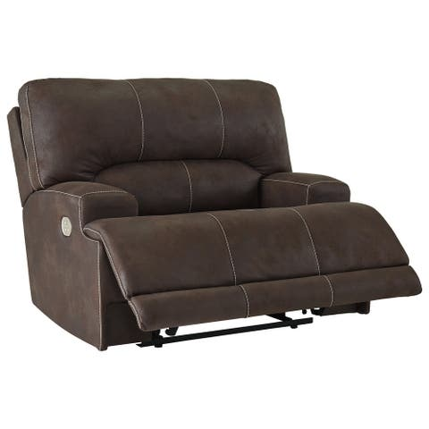 Kitching Contemporary Wide-seat Java Power Recliner