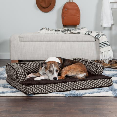 FurHaven Pet Bed Plush & Décor Comfy Couch Cooling Gel Top Sofa Dog Bed