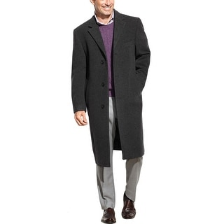 Izod Prospect Charcoal Wool Blend 3-Button Topcoat 42 Long 42L