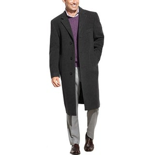 Izod Prospect Overcoat 40 Long 40L Charcoal Wool Blend 3-Button Coat