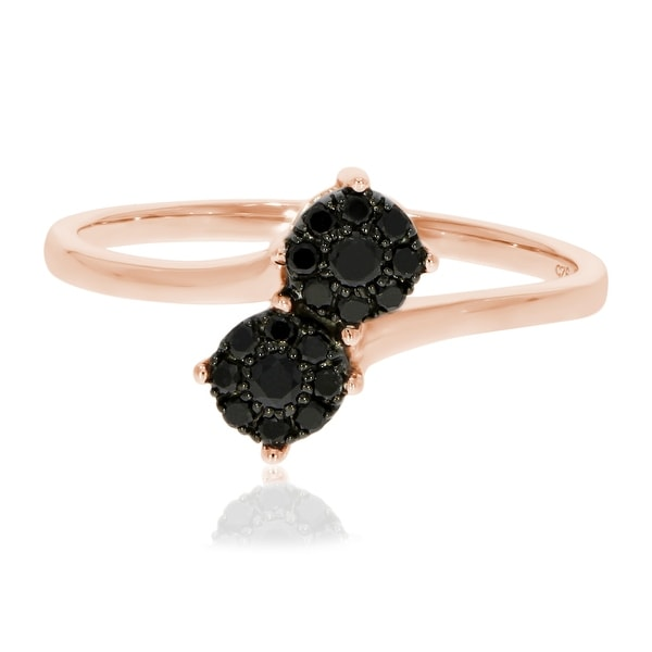 Brand New Round Brilliant Cut Natural Diamond Two Tone Bypass Cluster Ring - Black