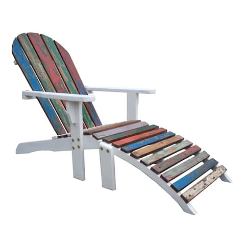 Adirondack Chair Including Footstool Made From Recycled Teak Wood Boats