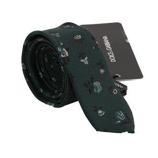 Dolce & Gabbana Green Floral Silk Slim Tie - One size