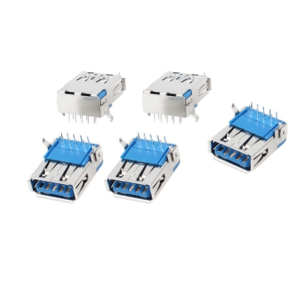 5pcs Shielded Right Angle DIP Female USB 3.0 A Jack Socket Port