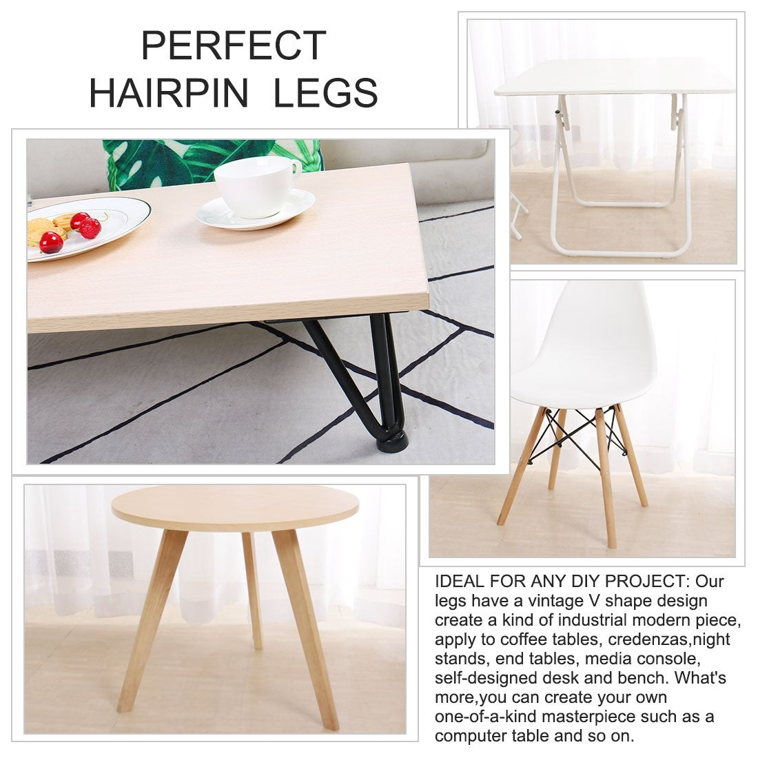 Table Benches Modern Desks 4pcs Hairpin Table Legs 12 Inch