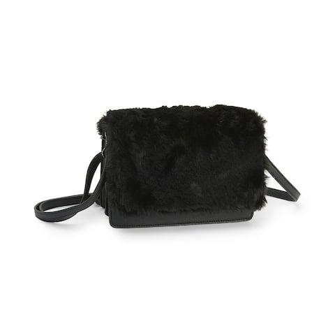 Aeropostale Womens Boxy Faux-Fur Cross Body Handbag Purse, black, One Size - One Size