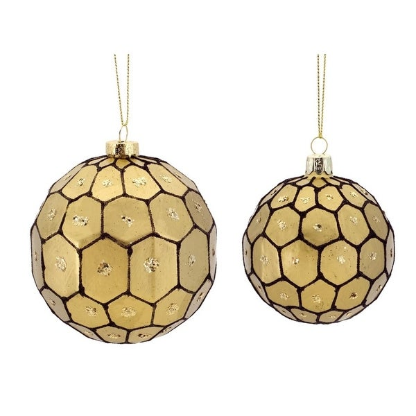 "6ct Gold and Black Geometric Glass Christmas Ball Ornaments 3.25"" - 4.25"""