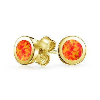 Bling Jewelry Unisex Imitation Mexican Fire Opal Round Bezel Stud earrings Gold Plated 65mm - Orange|https://ak1.ostkcdn.com/images/products/is/images/direct/8dc52590f23c5be59c95f7122b22656db479911c/Bling-Jewelry-Unisex-Simulated-Mexican-Fire-Opal-Round-Bezel-Stud-earrings-Gold-Plated-65mm.jpg?impolicy=medium