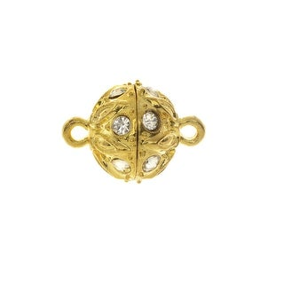Magnetic Clasp, Sphere with Drop Pattern and Rhinestones 18x12.5mm, 1 Set, Gold Tone