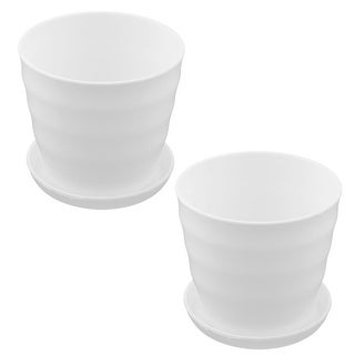 2pcs Garden Plastic Desk Decor Plant Container Seed Holder Tray Flower Pot White