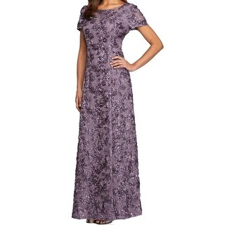 Alex Evenings NEW Purple Womens 10P Petite Rosette Sequined Gown Dress
