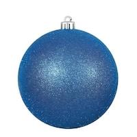 Vickerman  12 in. Blue Glitter Drilled Cap Christmas Ornament Ball