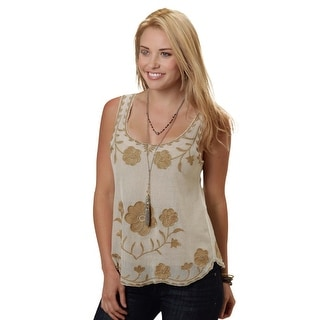 Roper Western Shirt Womens Sheer Floral Tank Cream 03-052-0565-3003 WH