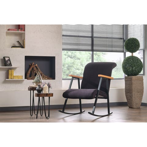 Yalef Upholstered Metal Frame Rocking Chair