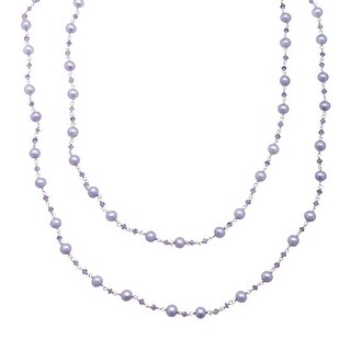 Honora 5.5-6 mm Freshwater Violet Pearl and Natural Amethyst Necklace in Sterling Silver - Purple
