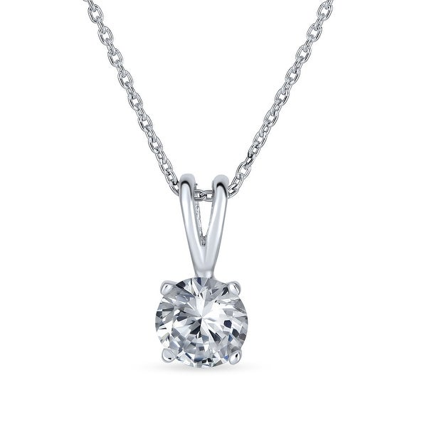1CT Round Solitaire Pendant Cubic Zirconia CZ Necklace Sterling Silver. Opens flyout.