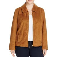 Bagatelle Womens Plus Jacket Faux Suede Collared