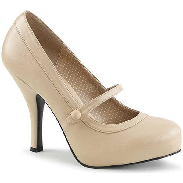 Shop Pleaser Pink Label Women's Pinup 01 Leather Mary Jane Cream Faux Leather 01 - - 17734245 bb6a95