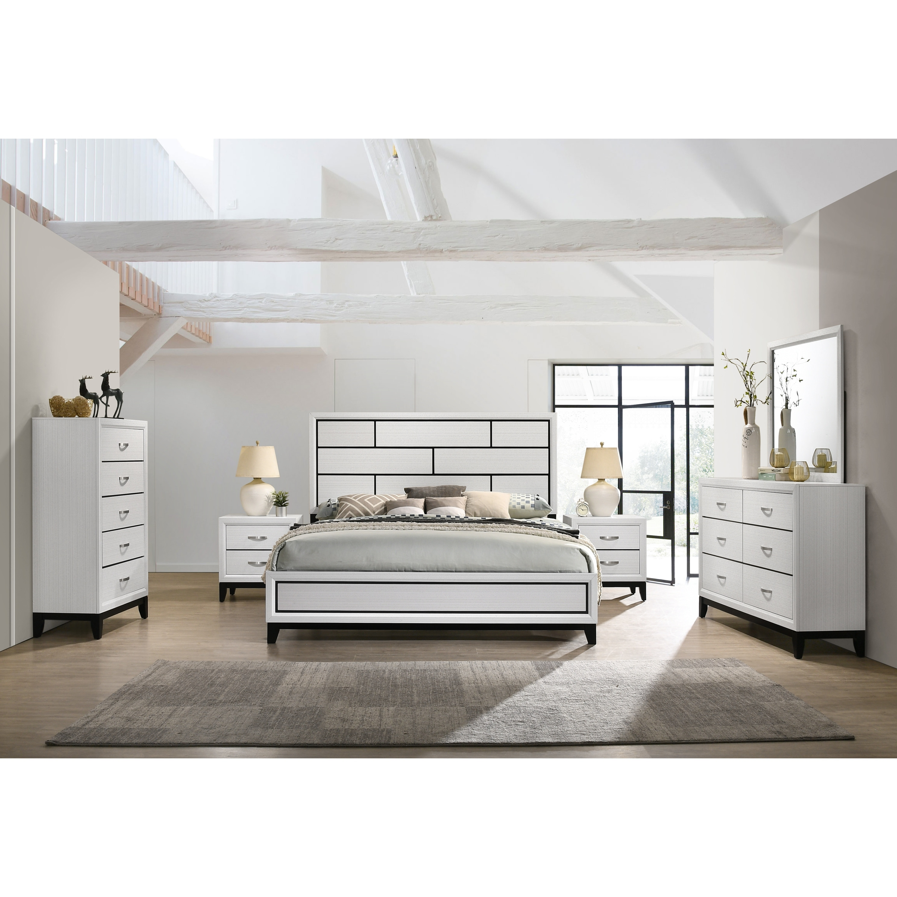 Shop Stout Contemporary Panel Bedroom Set In White Finish With Panel Bed Dresser Mirror 2 Night Stands Chest On Sale Overstock 31640569